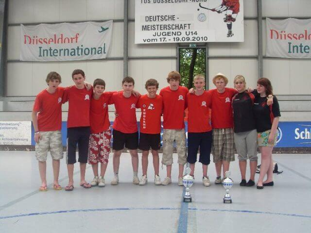 King's Lynn Team in Dusseldorf with their Cups